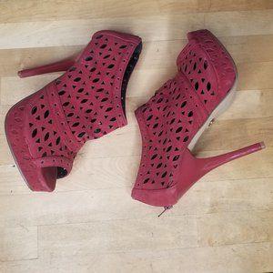 PROMISE red suede open toe heels